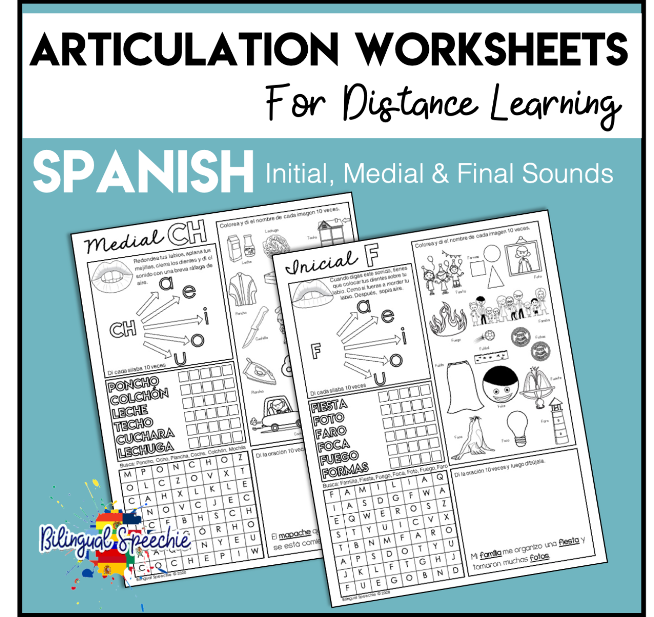 Articulation Worksheets for Distance Learning | Spanish