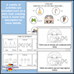 There was an Old Lady Who Swallowed a Bell | Bilingual Speech & Language Packet