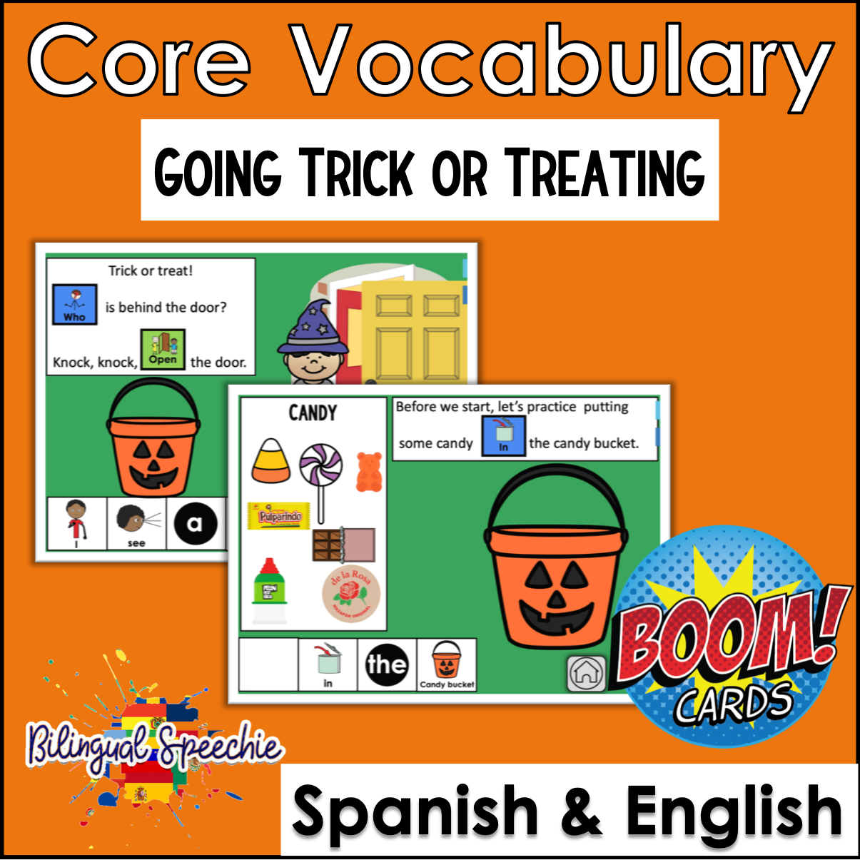 English & Spanish | Trick or Treating with Core Vocabulary