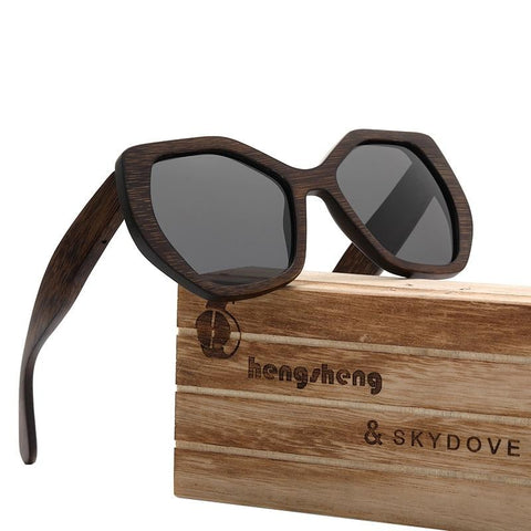 SKYDOVE Hexagonal Bamboo Sunglasses