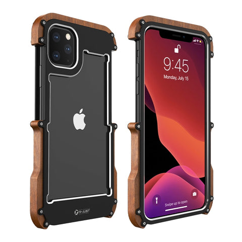 Luxury Aluminum Screws Wooden Phone Case for iPhone