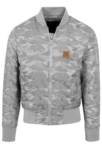 Onelife Apparel Patch Tonal Camo Bomber Jacket stone