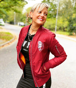 Onelife Apparel Mosh Ape Ladies Bomber Jacket Burgundy