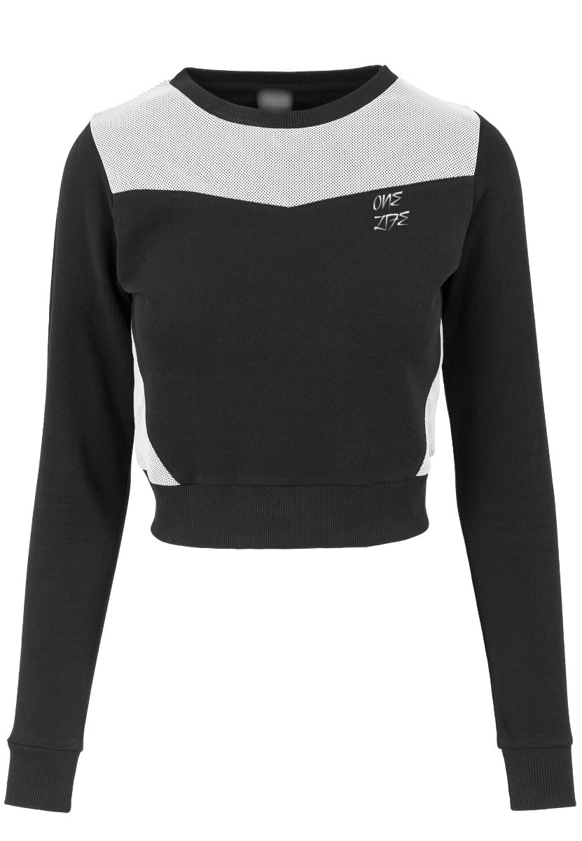 Onelife Apparel Logo Ladies Cropped Mesh Terry Crew Black