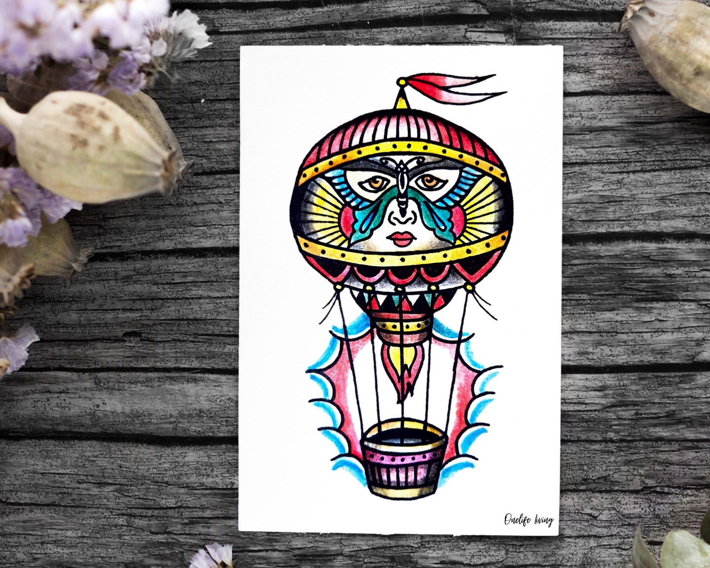 Onelife Living Tattoo Balloon Poster A1 | A2 | A3