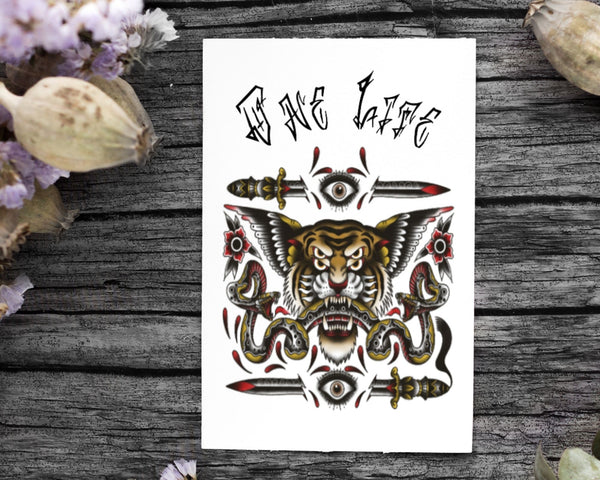 Onelife Living CROSS EYED FLYING TIGER WITH A SIAMESE SNAKE Poster A1 | A2 | A3