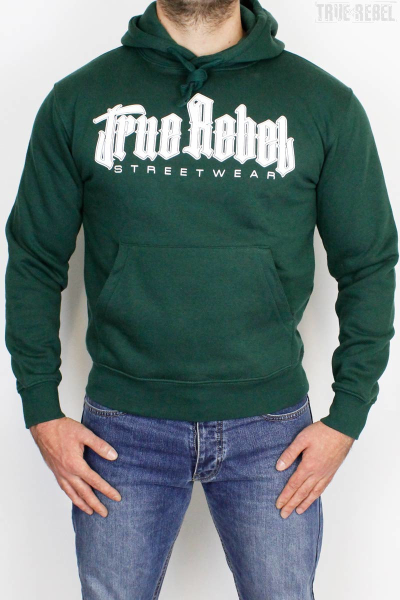 True Rebel Streetwear Hooded Vatos Locos Bottle Green