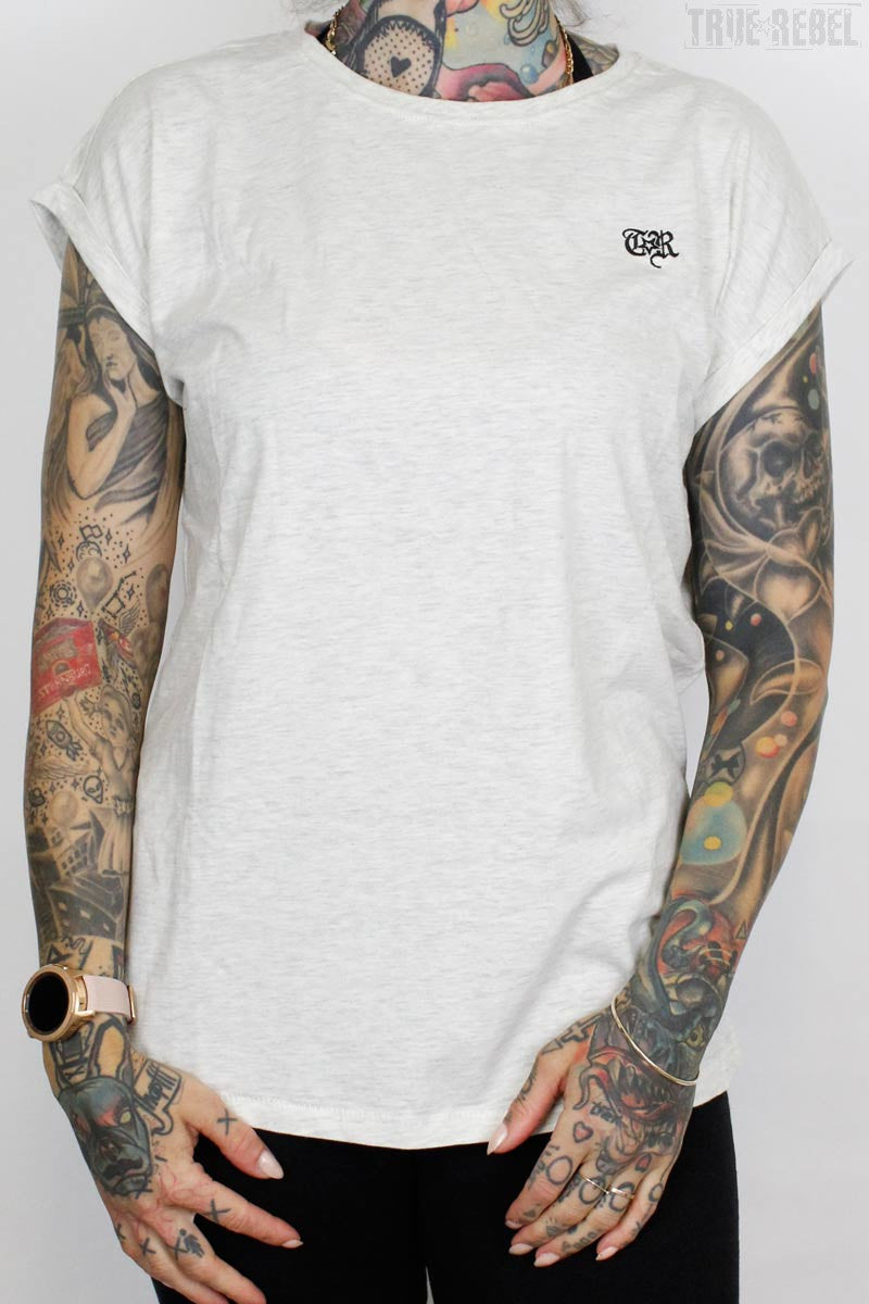 True Rebel Streetwear Ladies Shirt Extended Shoulder Light Grey