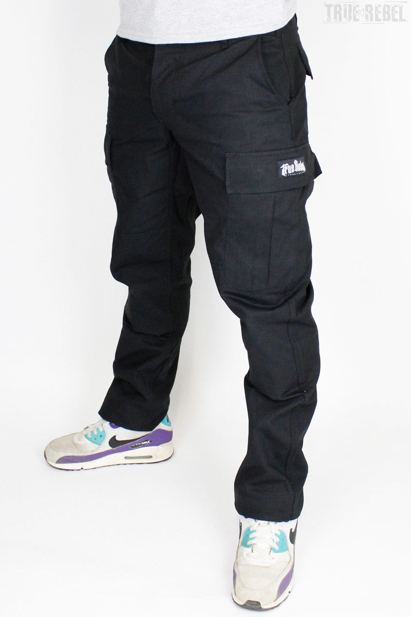 True Rebel Streetwear Pants Cargo Black
