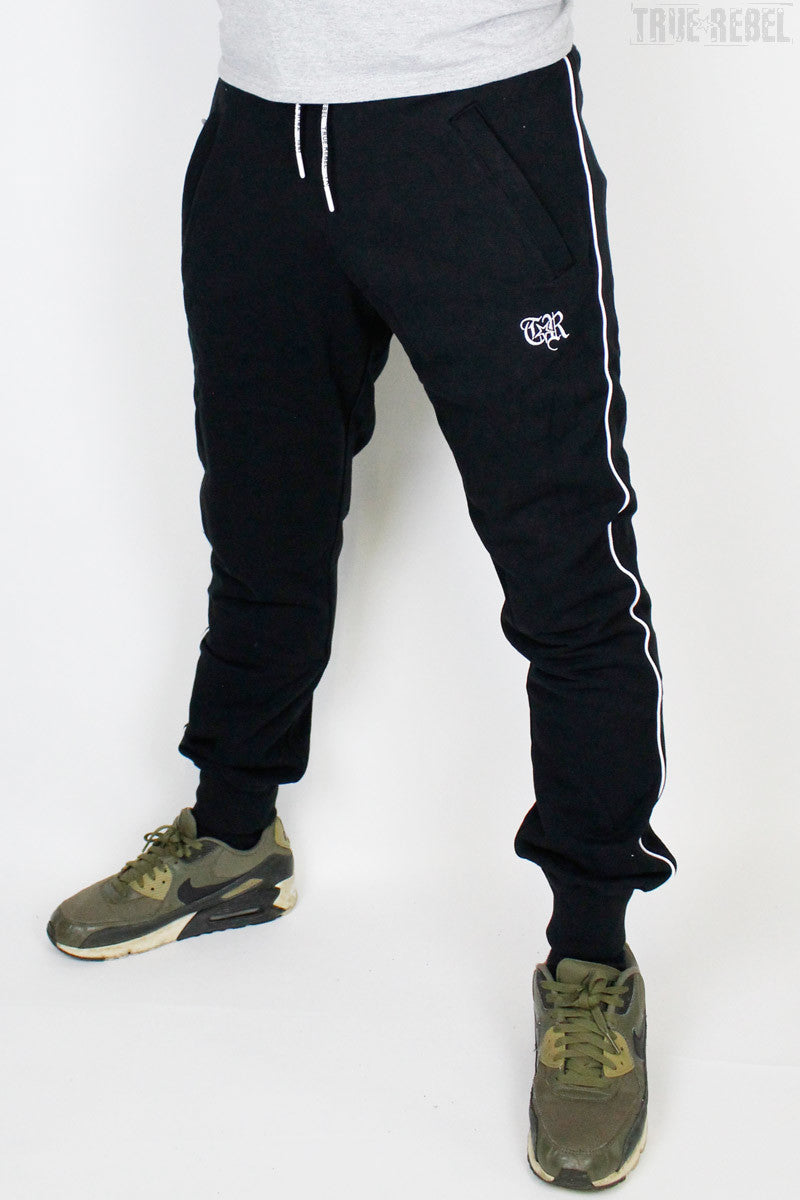 True Rebel Streetwear Unisex Sweatpants TR Piped Black