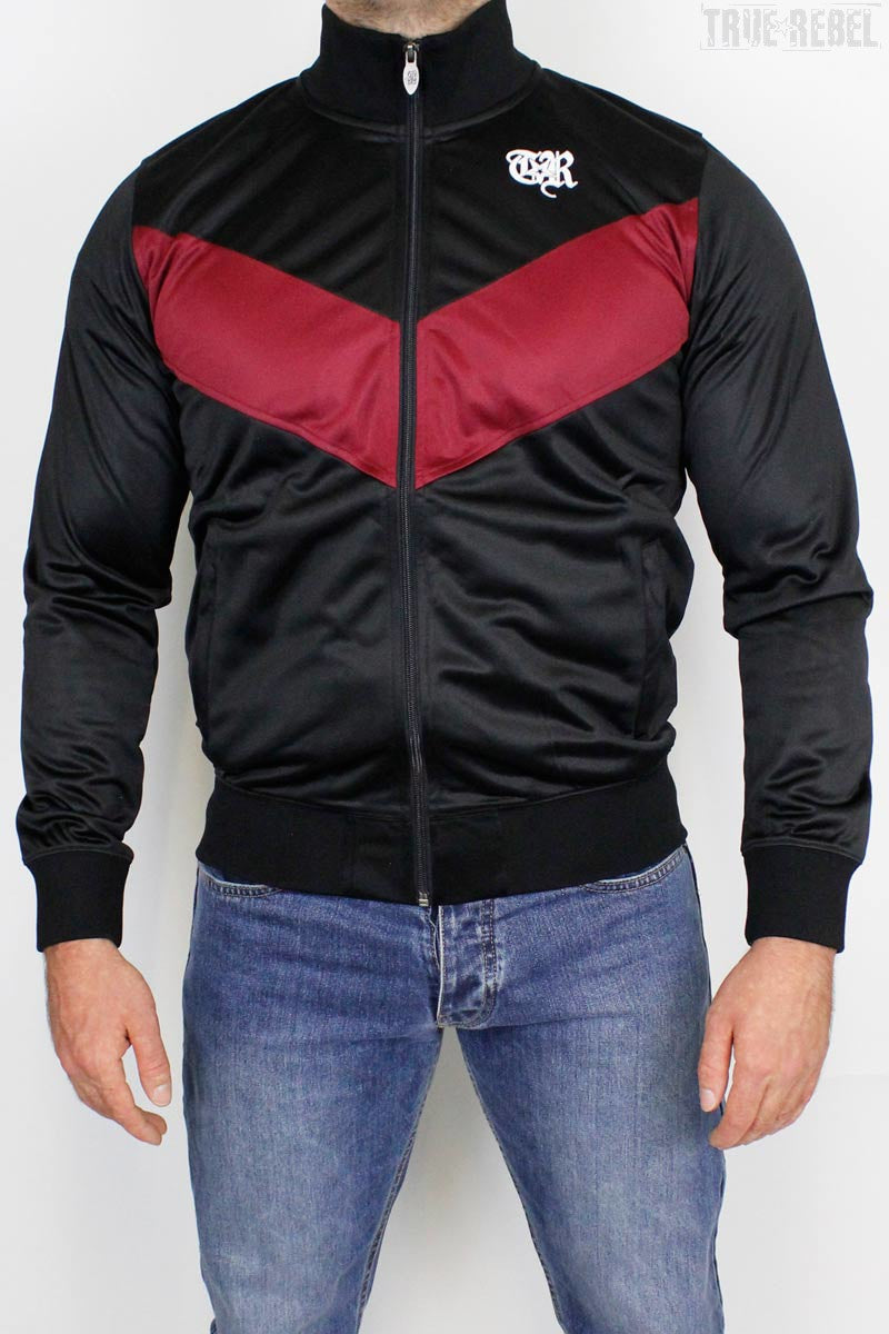 True Rebel Streetwear Unisex Track Jacket Arrow Black Bordeaux