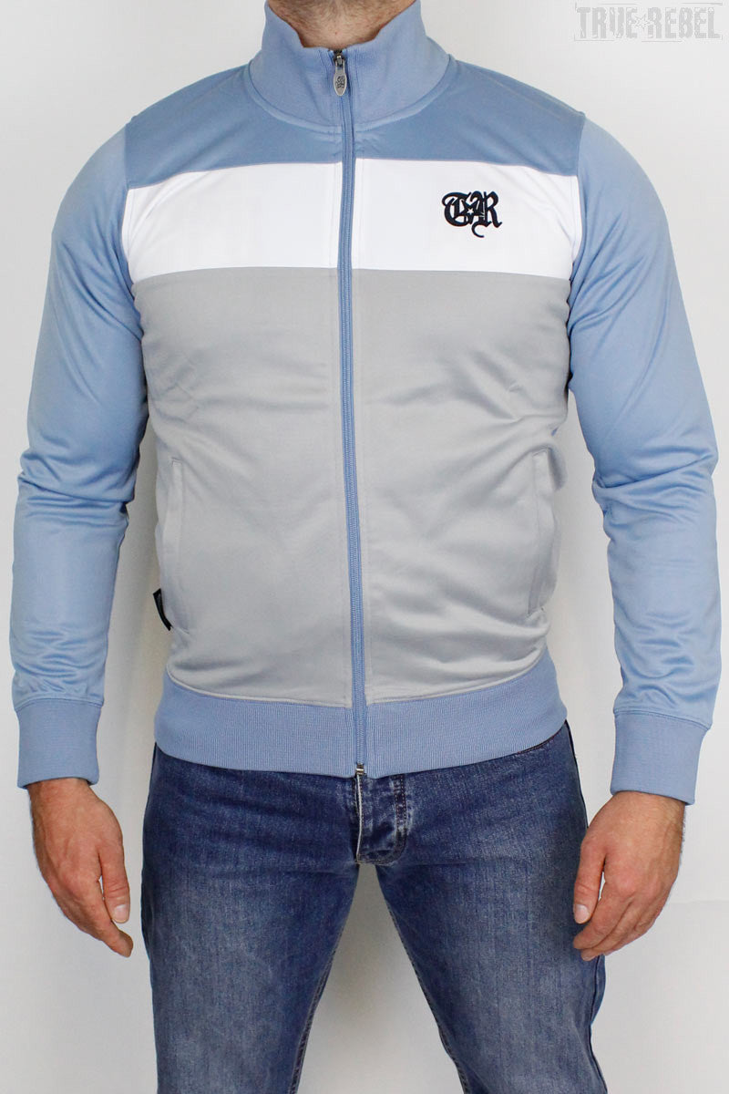 True Rebel Streetwear Unisex Track Jacket Colour Block Blue Shadow