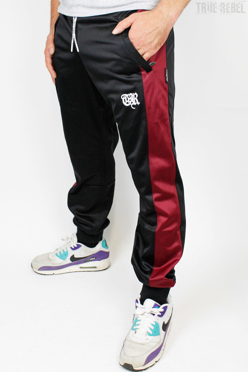 True Rebel Streetwear Unisex Trackpants Black Bordeaux