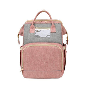 LinePeek Bag grey pink / China Best Parents Diaper Backpack