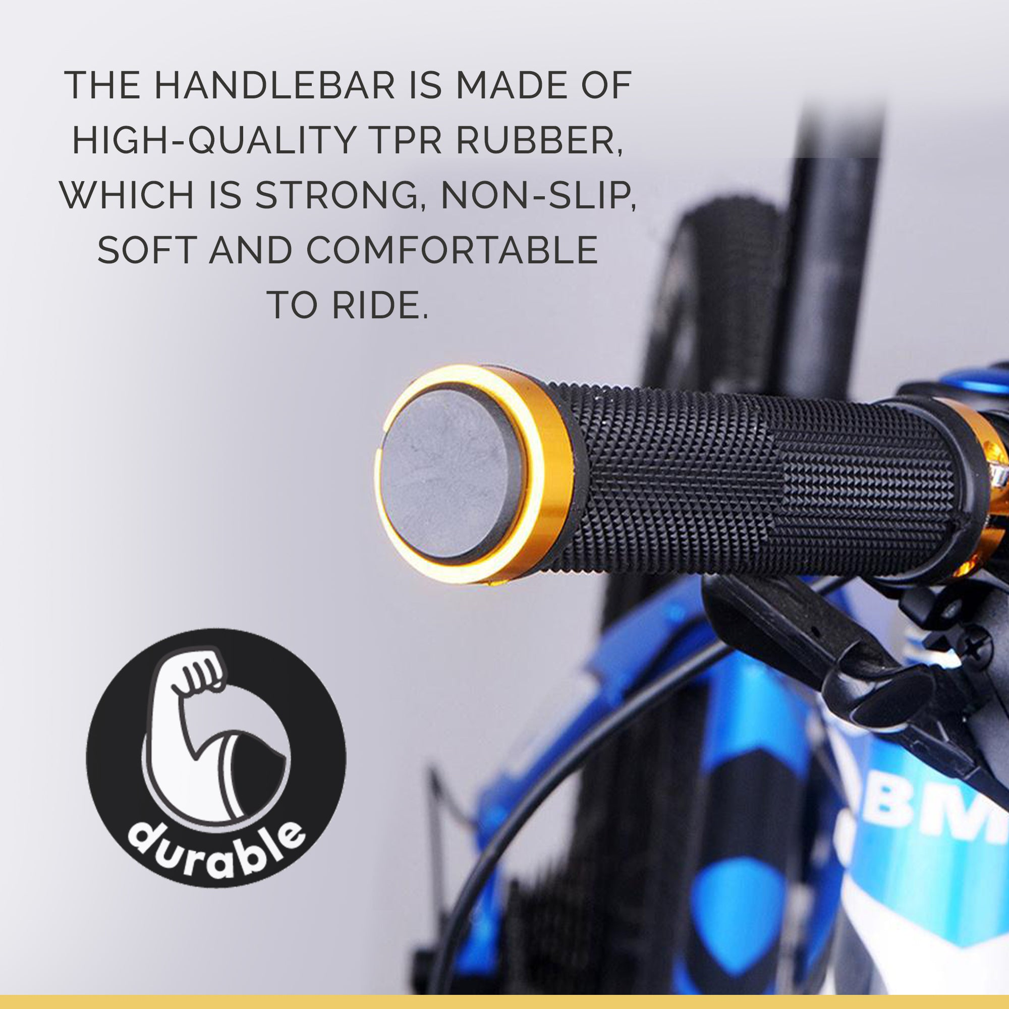 Bicycle Handlebar Grips Cycling Double Lock-On Ends Super Soft And Durable Blue