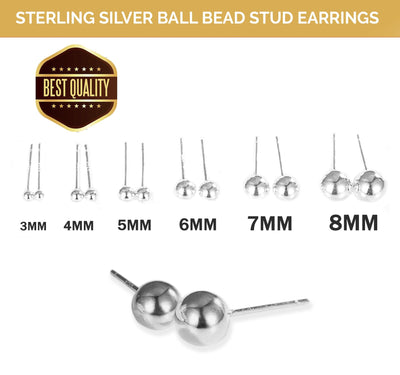 Silver 925 Sterling Ball Bead Stud Earrings