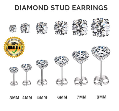 Silver 925 Sterling Diamond Zircon Stud Earring