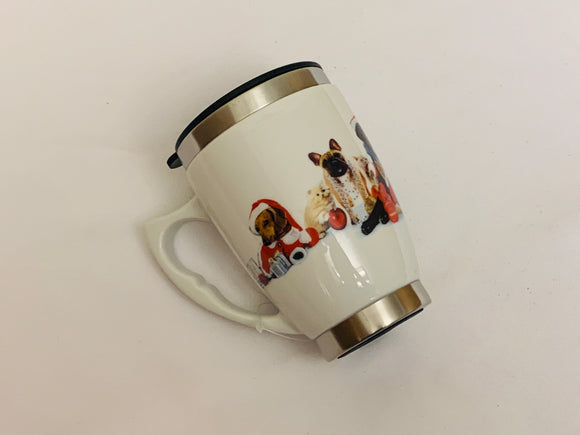 Christmas Cat & Dogs Mug with Lid