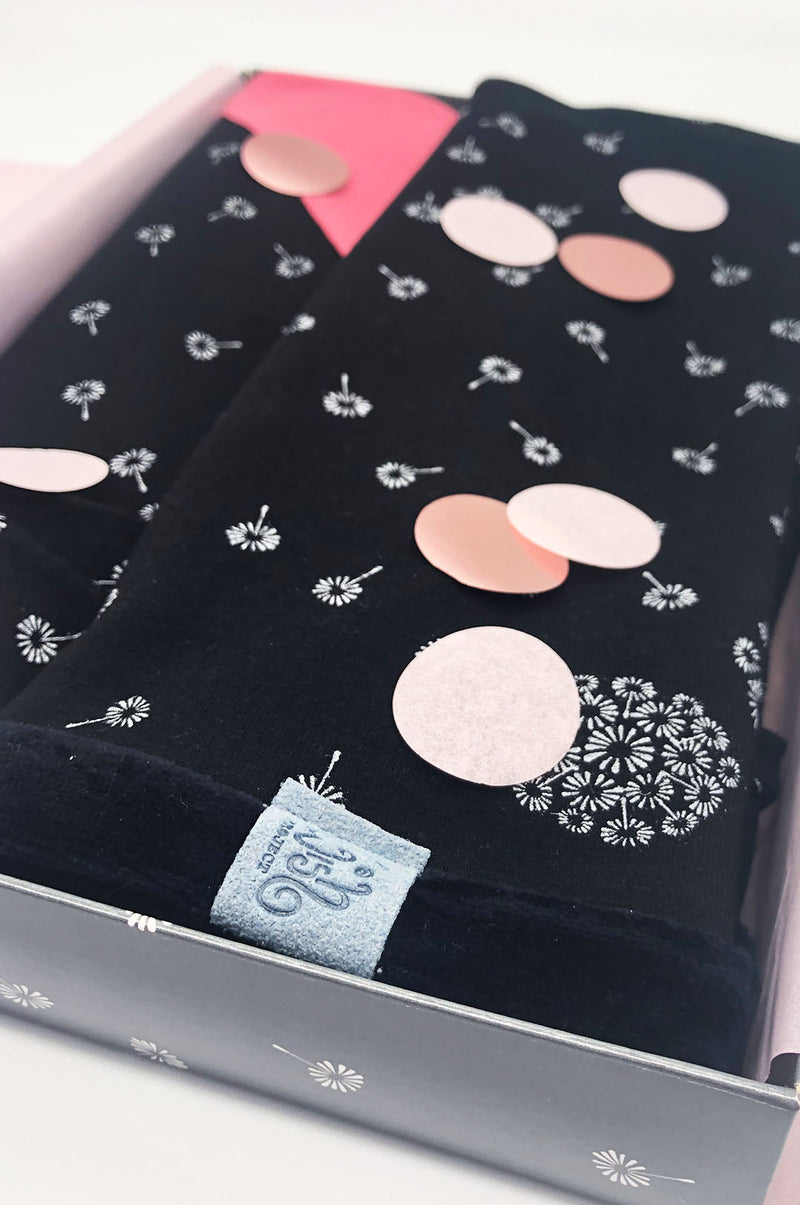 Gift Box dandelion arm warmers hairband summer scarf women black confetti
