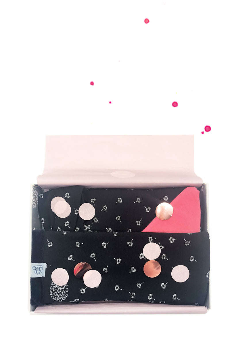 box gift set dandelion black arm warmers triangle scarf and hair band