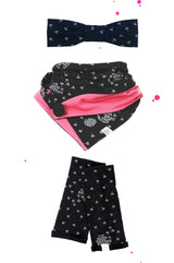 Gift box Dandelion black white coral hair band and triangular scarf arm warmers