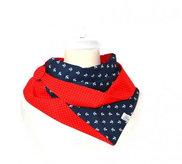 summer cloth with anchor motif on blue and with red dot fabric asymmetrical