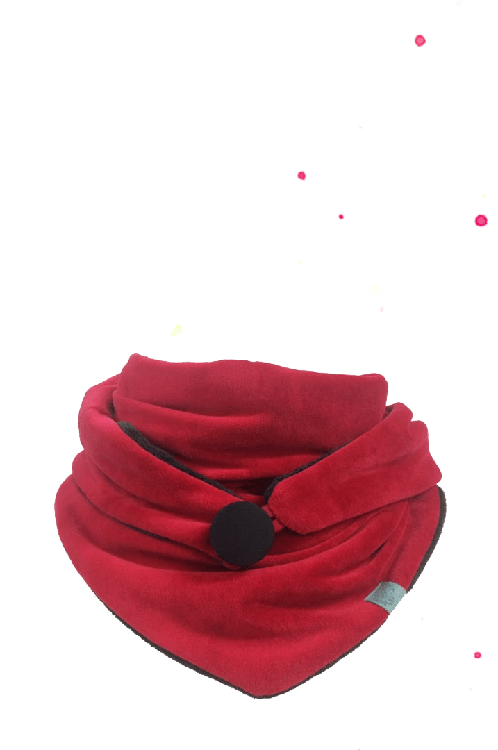 red triangular cloth with black button