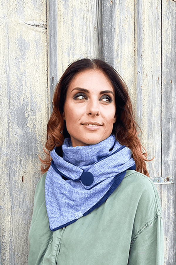 Woman with blue triangle cloth loop scarf variant