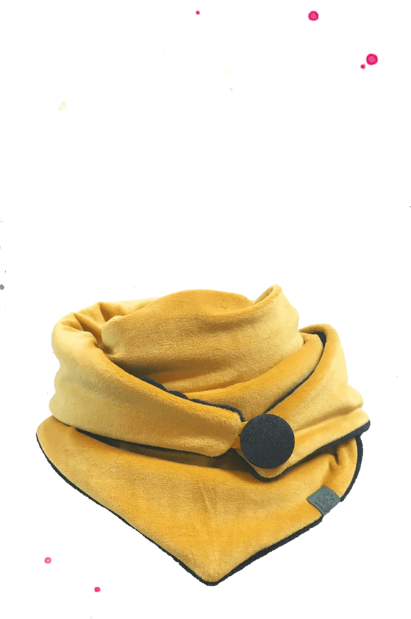 mustard yellow triangular scarf with black button