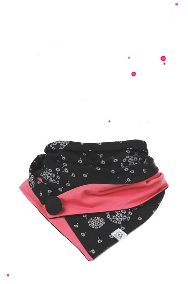 Triangular cloth with button black with playful pusteblumenprint and Corallepinker corner
