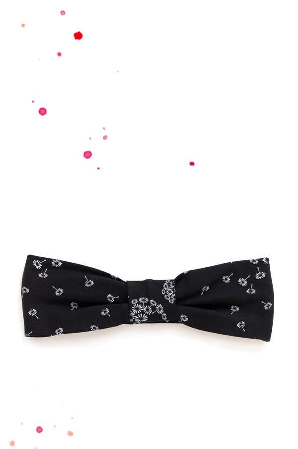 black hairband with pusflower print in white