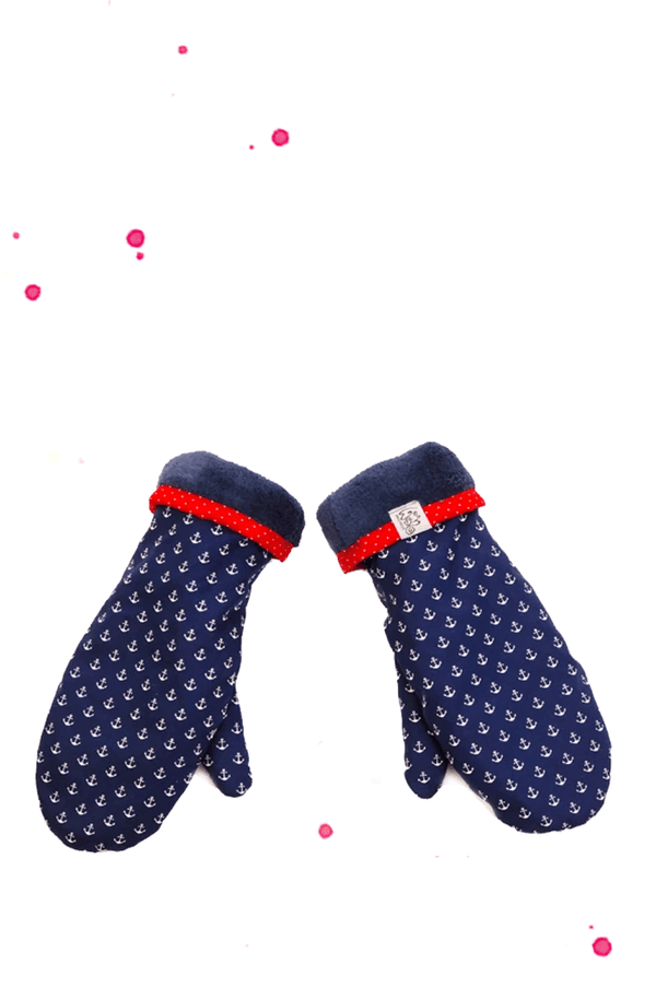 Blue gloves with anchor pattern
