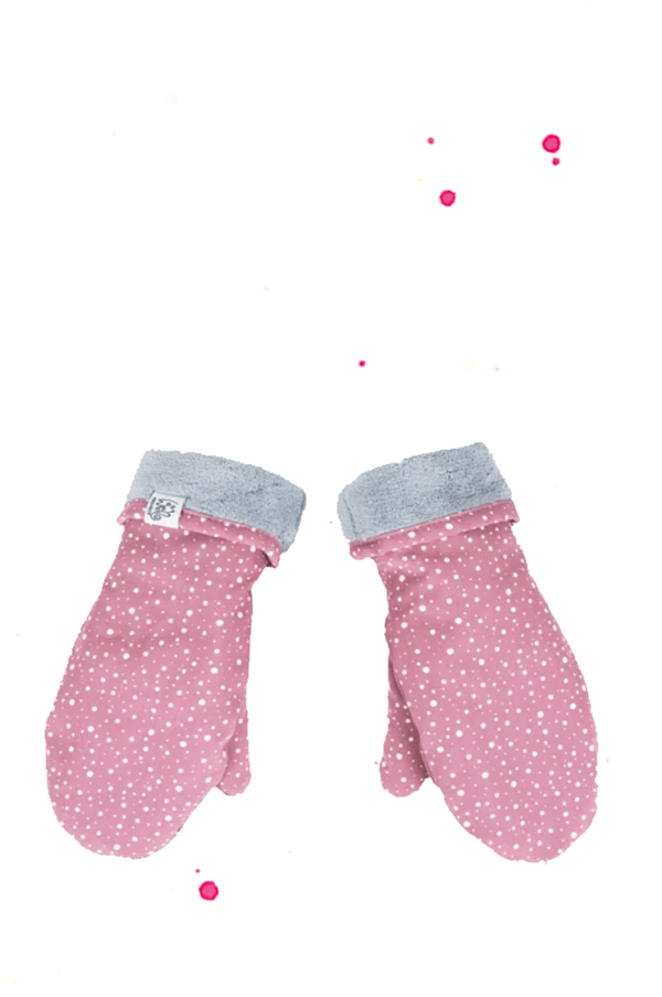 pink fist gloves with white dots