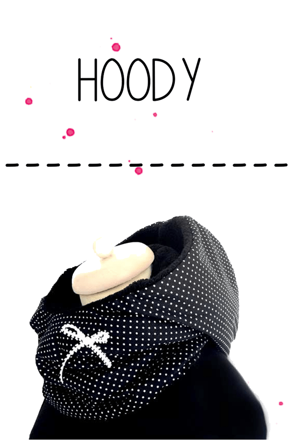 Hood and scarf collar in a black with white dots