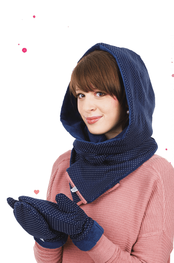 Young faru wears hooded scarf in small blue dotted cotton thick and fluffy lined with microfiber plush and pink bristle at the ends and matching blue fist gloves