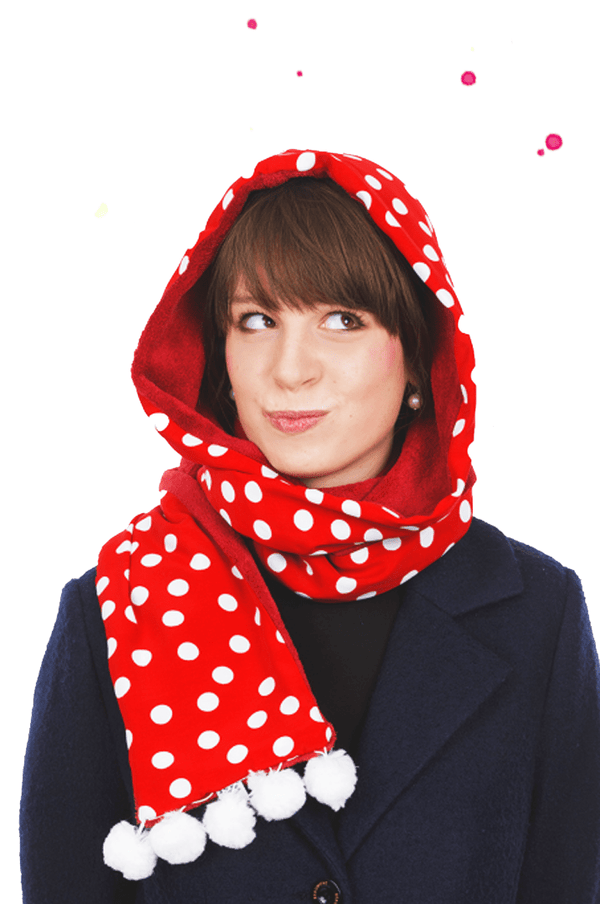 young woman with red hoodie with dots and white snowballs at the ends