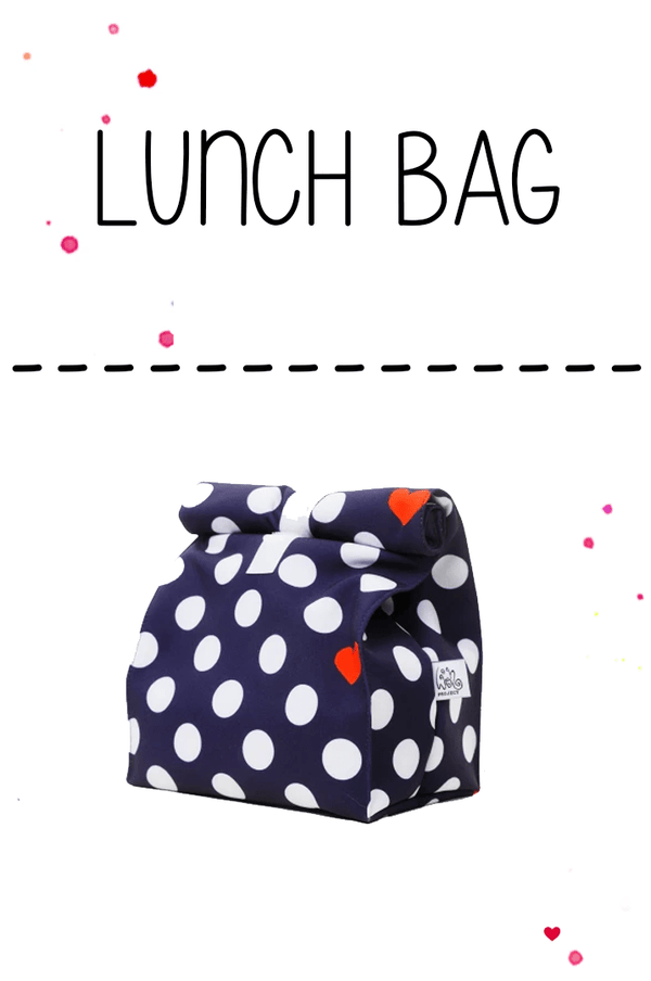 blue lunchbag with dots and hearts