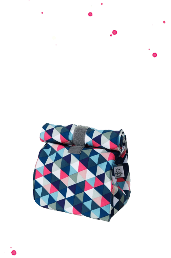 Lunchbag with colorful triangles