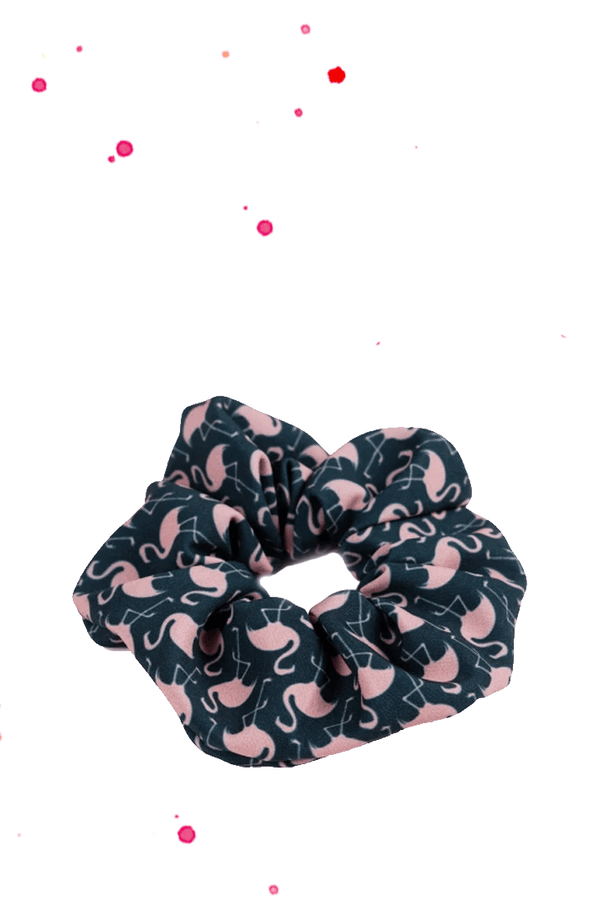 scrunchie hair rubber petrol green with pink flamingos
