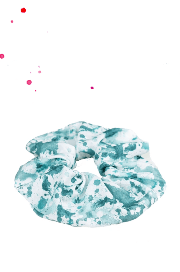 scrunchie hair gum white with petroleum green aquarell stickers