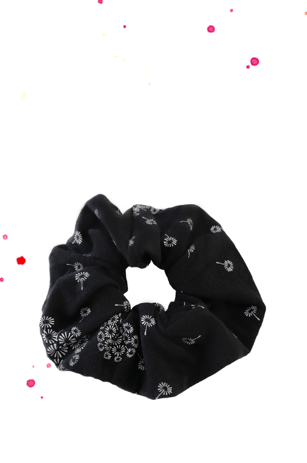 Scrunchie hair rubber braid black with fine white pusteblumen