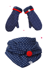 Set triangular scarf with button blue with anchor motif and matching gloves red accent button and hem