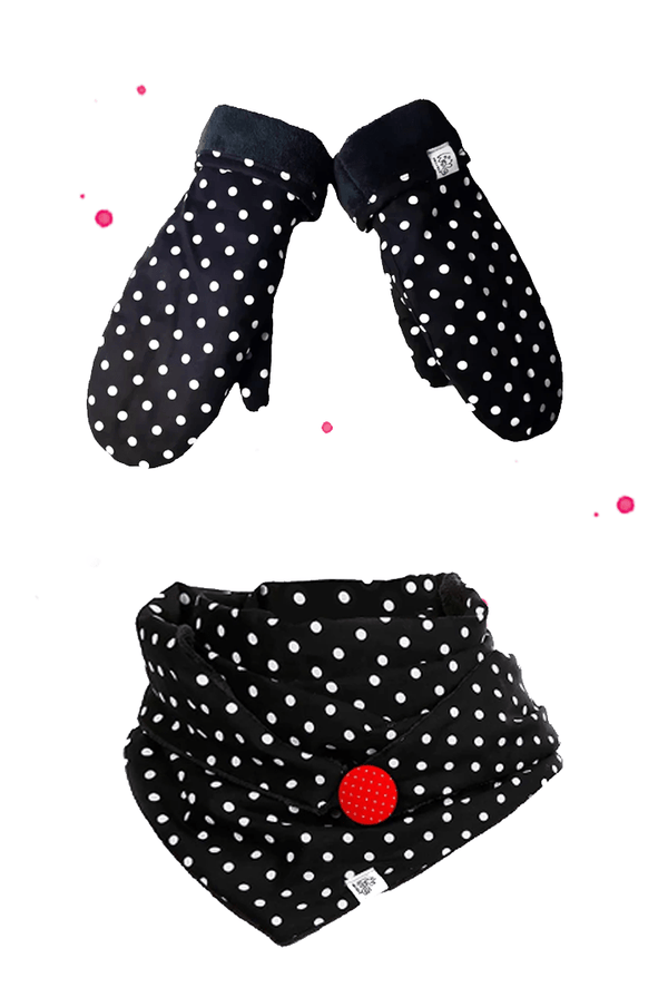 Set triangular scarf with red button and gloves in black fabric with white dots