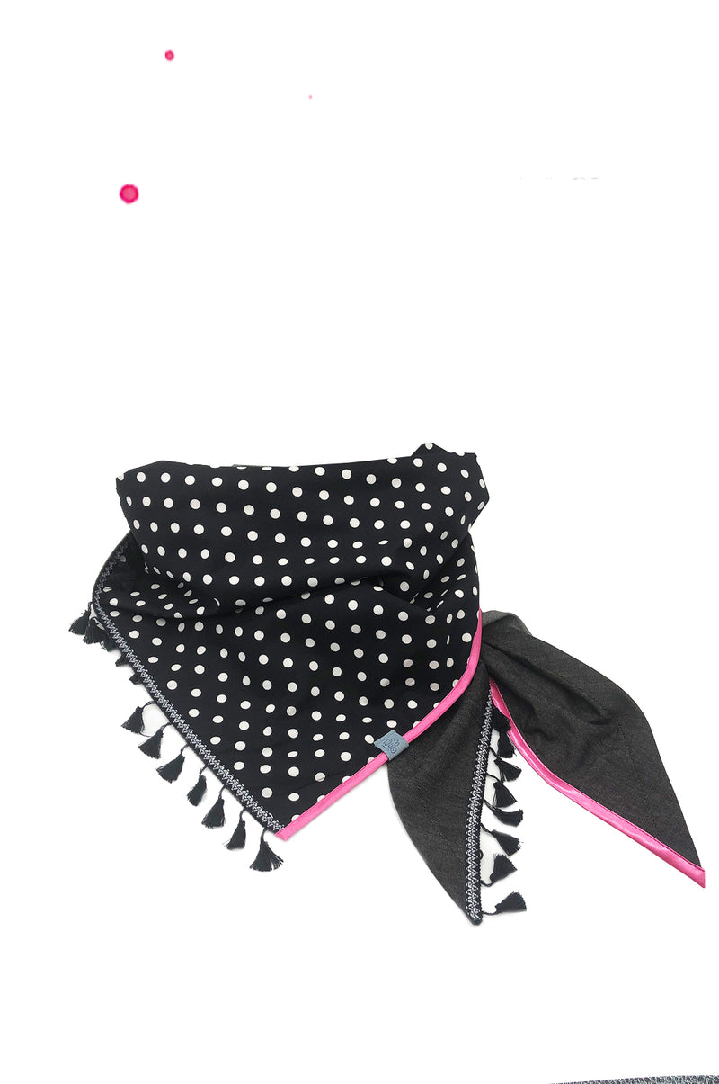 neck scarf ladies xxl black with dots and fringe and pink satin trim