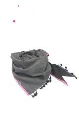 Scarf jeans gray with pink and fringe border
