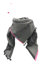 Triangle scarf Ladies Jeans Gray Back Gray Uni FRANKENBORTE Black and Pink Satinborte