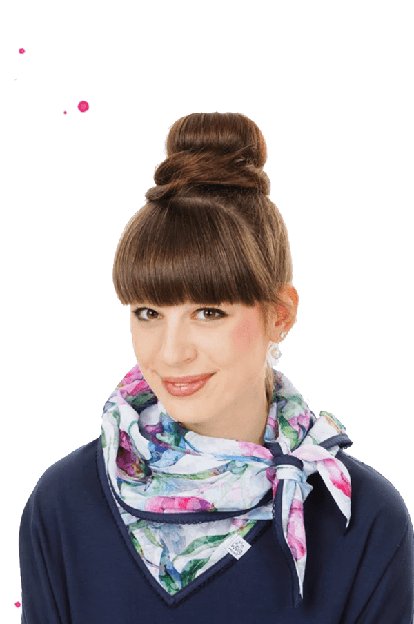 young woman with summer scarf in white, pink pink and blue tulip pattern