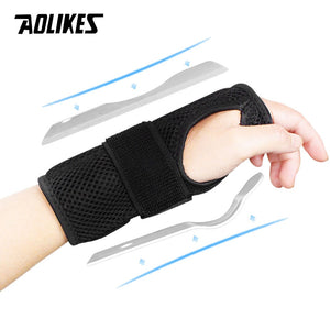 AOLIKES 1PCS Wrist Splints - Wrist Support Brace for Arthritis Tendonitis Night Sleep with Palm Cushion Pad Right Left Hand