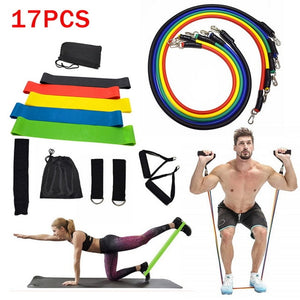 17pcs Yoga Band Tube Resistance Bands Set Fitness Elastic Rubber Band Training Workout Expander Pull Rope Gym Fitness Equipment
