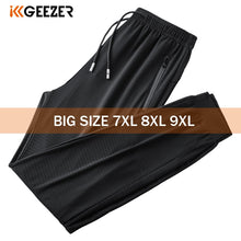 Load image into Gallery viewer, Black Pants Men 7XL 8XL 9XL Plus Size Ice Silk Casual Lightweight Quick Dry Trousers Sport Elasticity Fitness Breathable Pant
